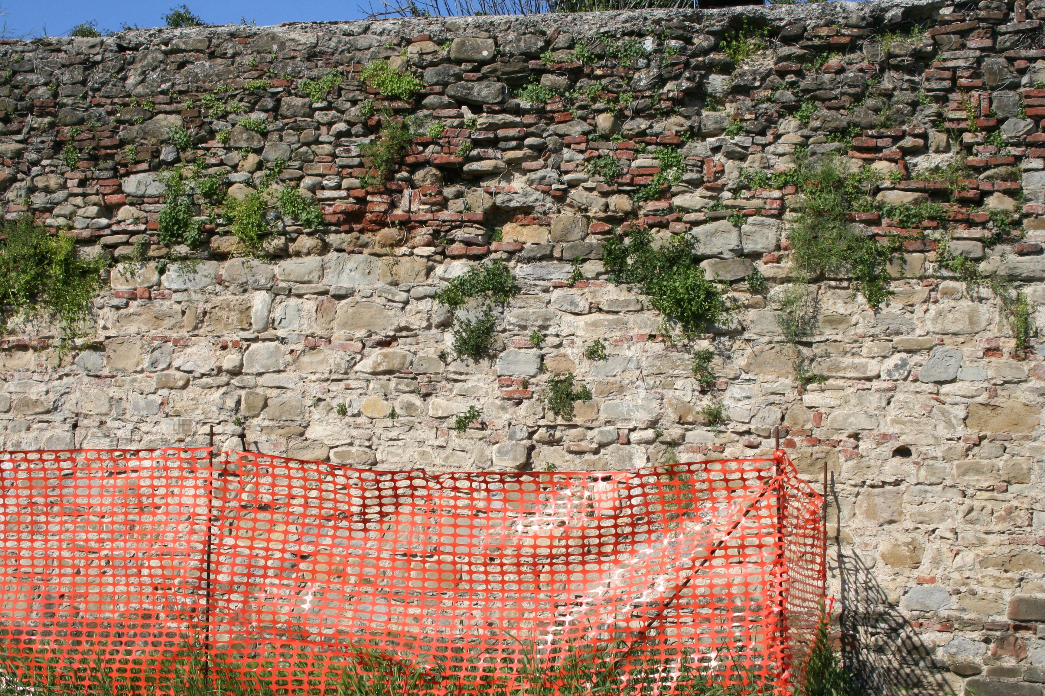 sansepolcro- mura urbane viale volta particolare vegetazione transenne 2
