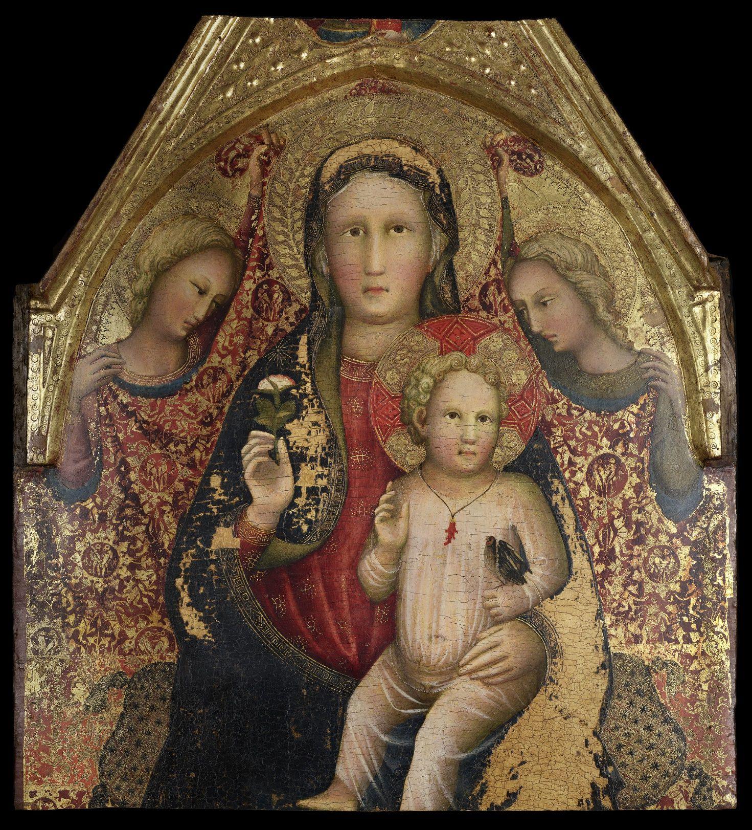 madonna in trono con bambino e angeli